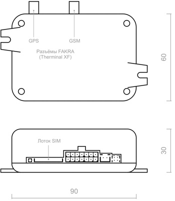 Размеры GSM модема для Webasto
